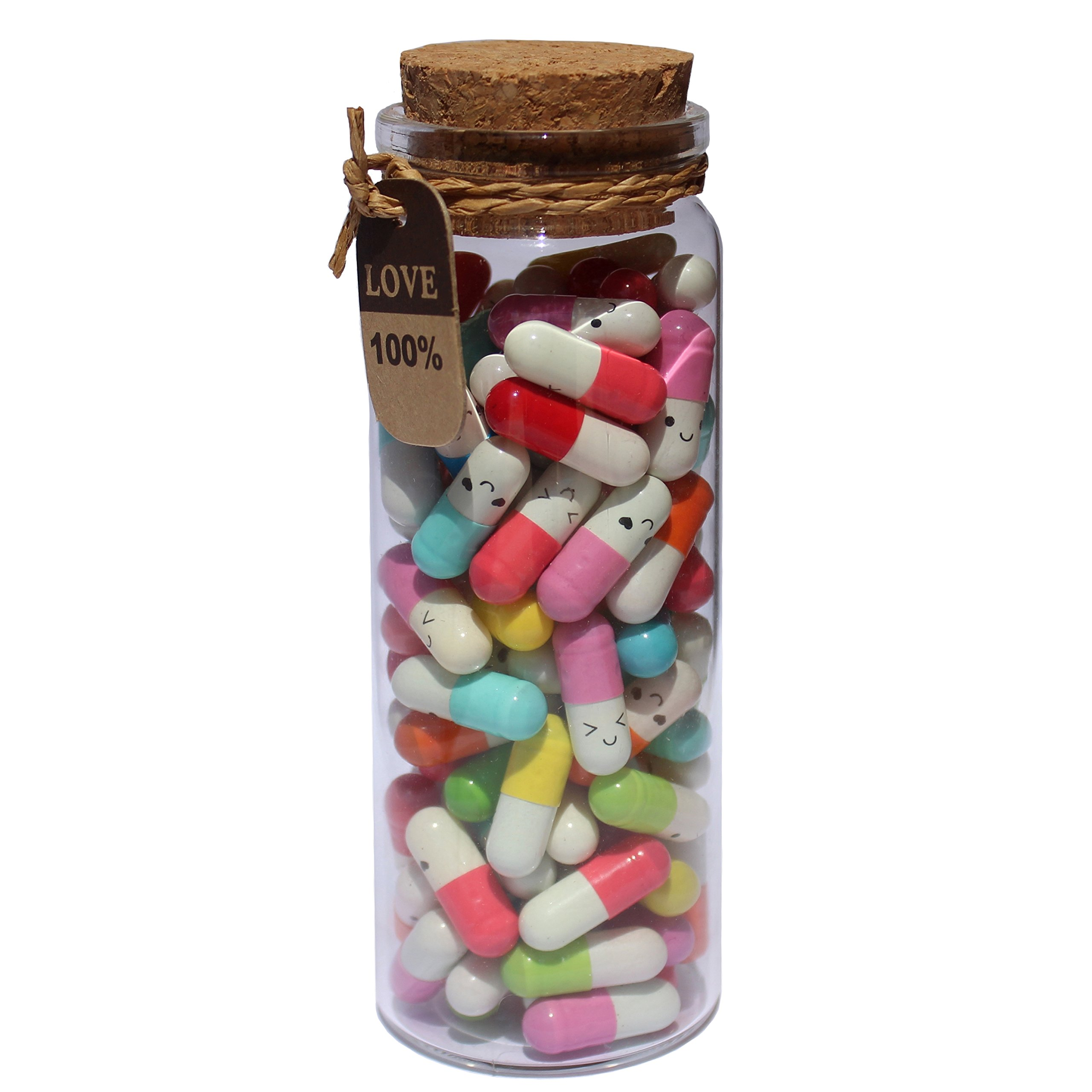 INFMETRY Capsule Letters Message in a Bottle Glass Favor Bottle (Mixed Color 90pcs) by INFMETRY