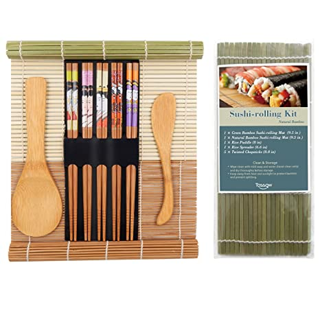 Tossow Sushi Making Kit Includes 2 Sushi Rolling Mats 1 Rice Paddle 1 Rice Spreader And 5 Pairs Chopsticks 100 Bamboo Sushi Mats And Utensils