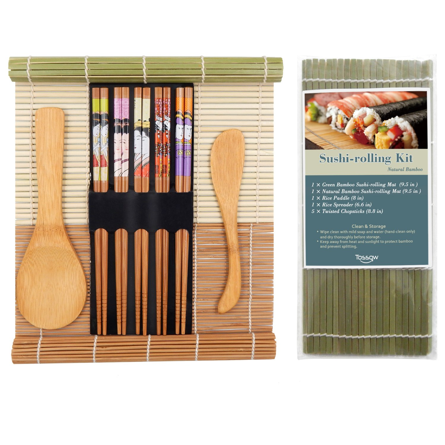 T TOSSOW Sushi Making Kit for Beginner Included 2 Sushi Rolls Mats - 1 Rice Paddle - 1 Rice Spreader and 5 Pairs Chopsticks,100% Natural Bamboo Sushi Kit Maker