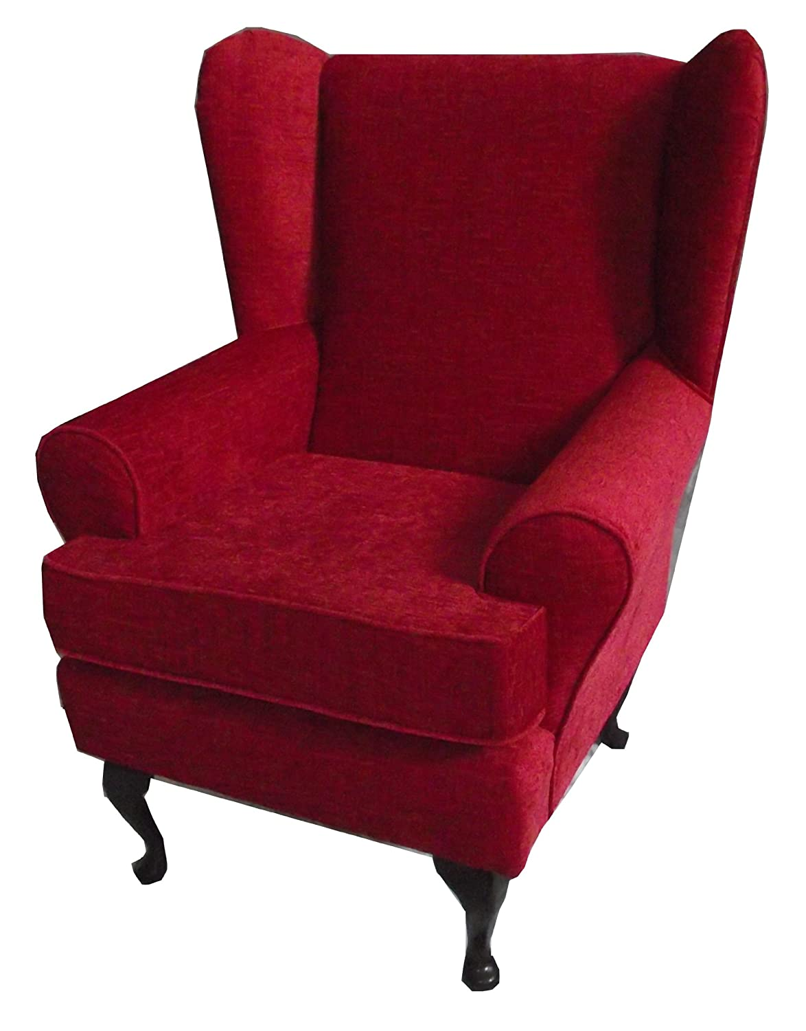 red chenille queen anne design wing back fireside high back chair