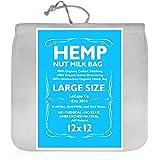"Organic Hemp Nut Milk Bag - Extra Large 12""x12"" - Reusable All Purpose Strainer Bag - 100% Natural, No Harmful Chemicals"