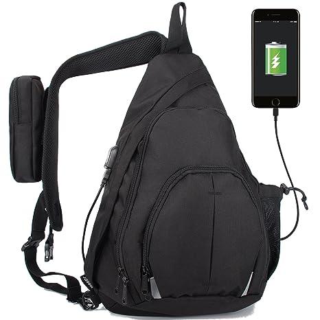224c7ecb133 WANDF Anti-Theft Sling Bag Travel Crossbody Backpack USB Charging Port  Waterproof Rain Cover