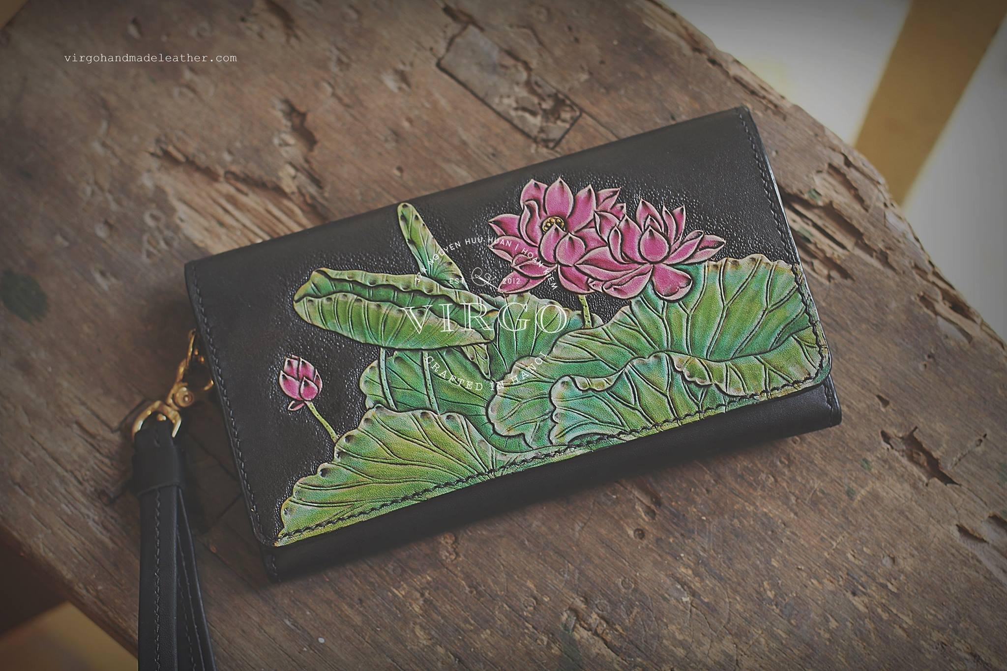 Lotus hand tooled wallet for women | Personalized Vintage vegetable tanned leather handmade wallet