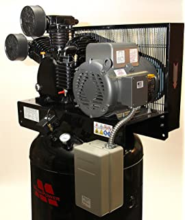 7.5 HP Single Phase Motor 80 gal Vertical Air Compressor w Two Stage Pump w starter