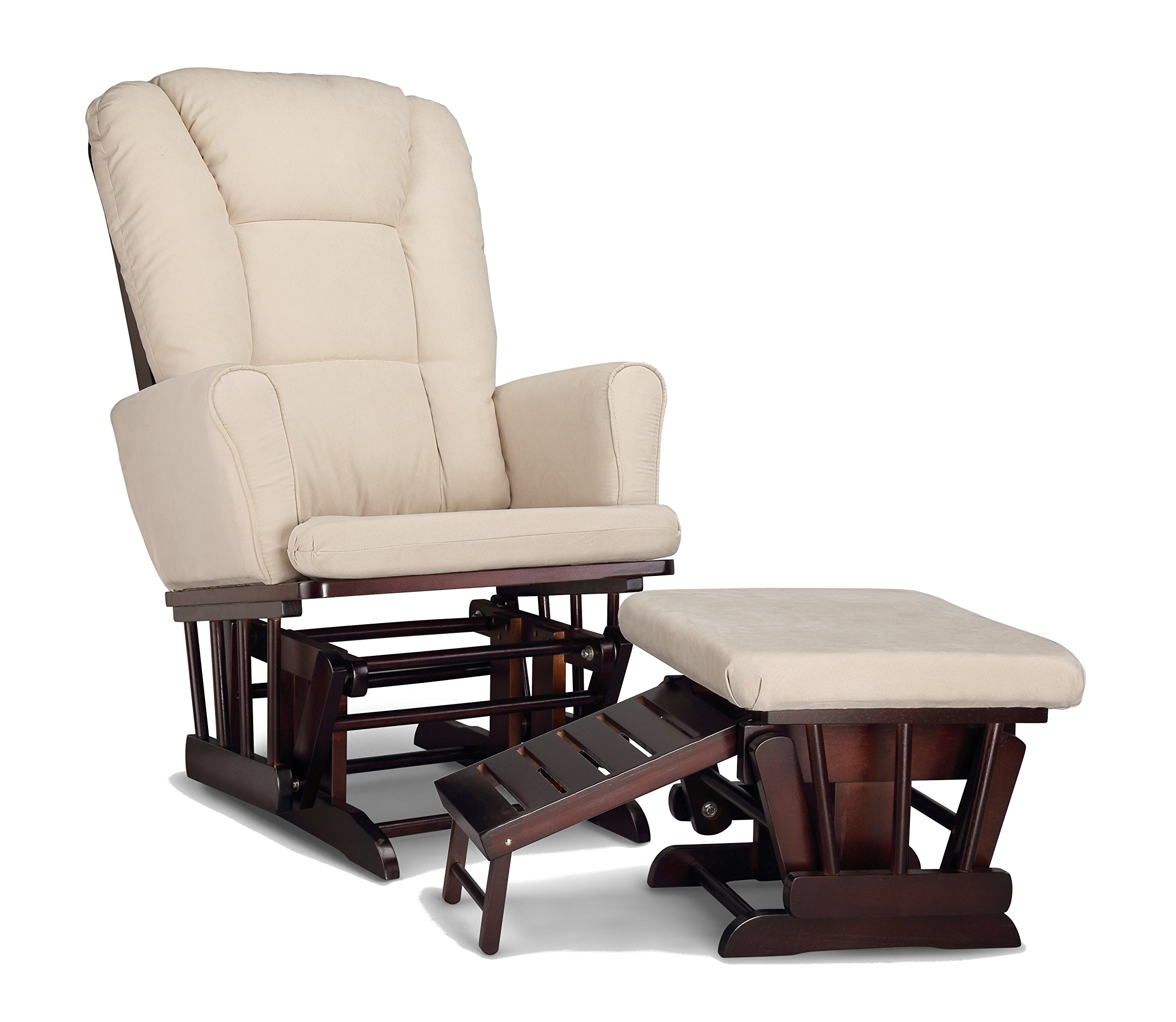 Graco Sterling Semi-Upholstered Glider and Nursing Ottoman, Espresso/Beige