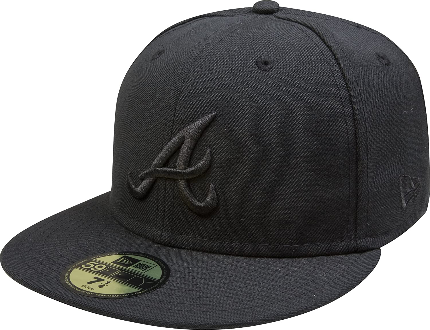 Amazon.com   MLB Atlanta Braves Black on Black 59FIFTY Fitted Cap 892599557cd