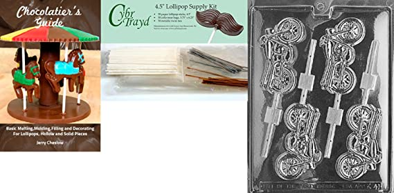 Cybrtrayd Motorcycle Pieces Kids Chocolate Candy Mold with Chocolatiers Guide Instructions Book Manual