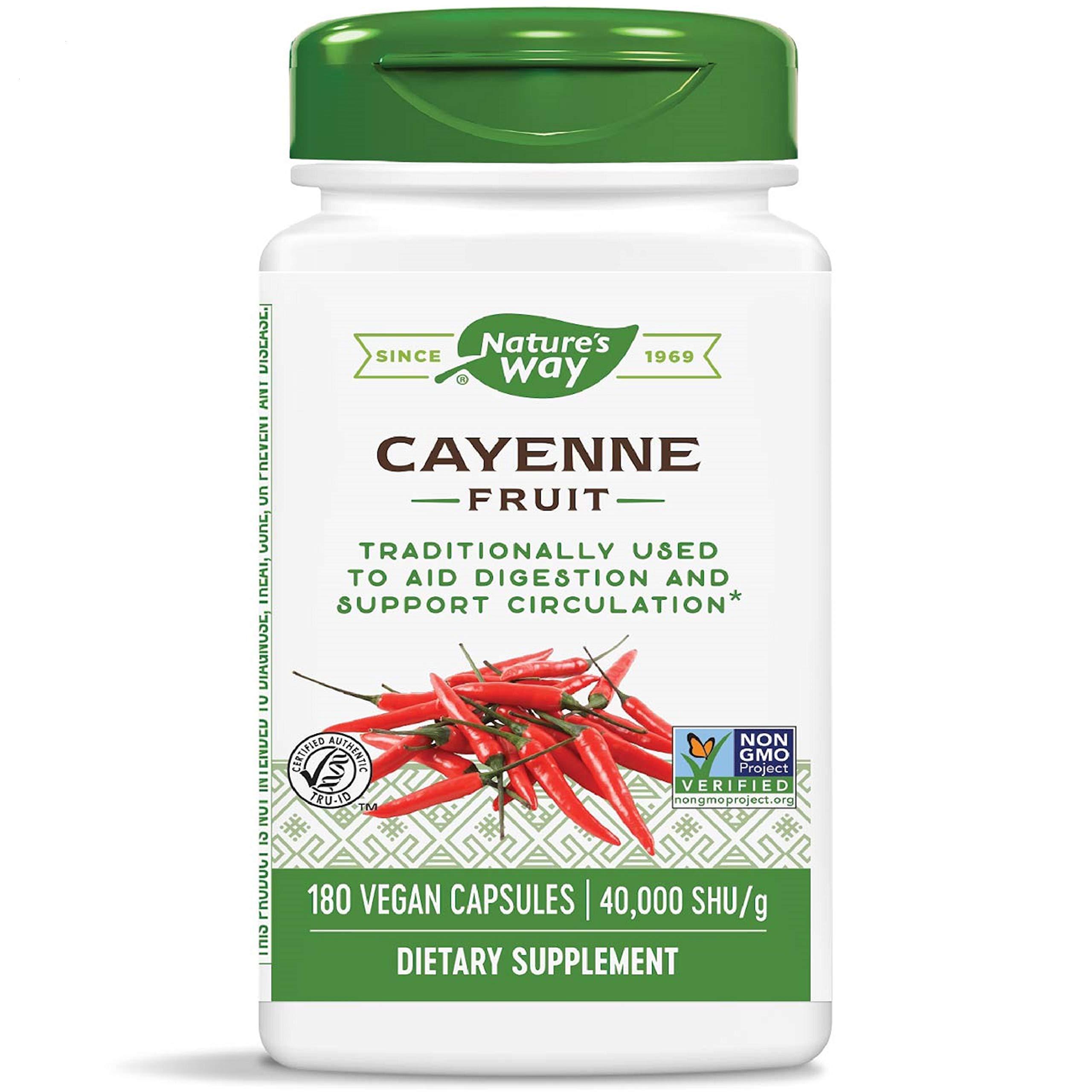 Nature's Way Cayenne Pepper 40,000 SHU Potency, Non-GMO & Gluten Free, Vegetarian Capsules, 180 Count