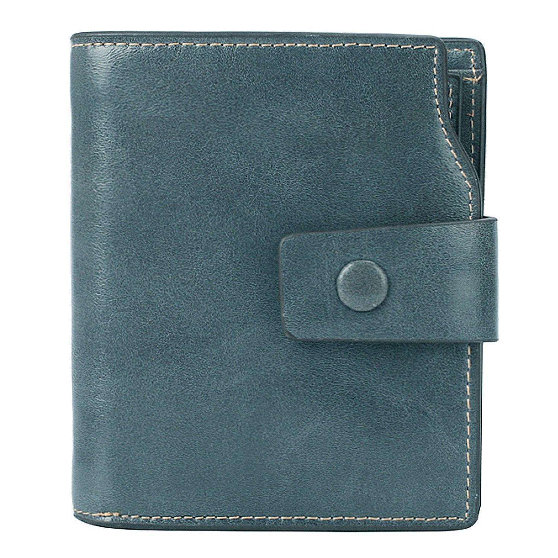 BIG SALE-AINIMOER Women's RFID Blocking Leather Small Compact Bi-fold Zipper Pocket Wallet Card Case Purse (Waxed Gray Blue)