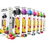 Fruit Infuser Water Bottle 32oz Willceal- Durable, Large - BPA Free Tritan, Flip Lid, Leak Proof Design - Sports, Camping