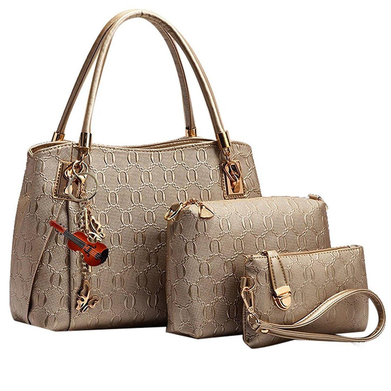 Amazing Roo Women PU Leather Purse Tote Shoulder Handbags 3pcs