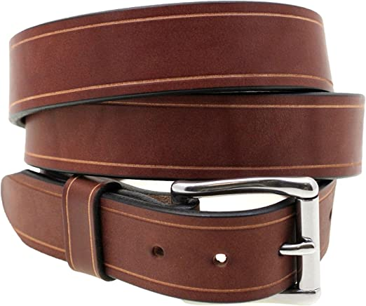 Orion Leather 1 1//4 Rich Brown Bridle Leather Belt With Saddle Groove
