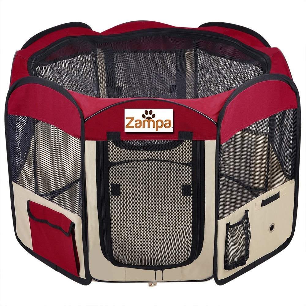 Red Medium (45\ red Medium (45\ Pet 45 Playpen Foldable Portable Dog Cat Puppy Exercise Kennel For Small medium Large. With Cary Bag. Easily Sets Up & Folds Down & Space Free by Zampa