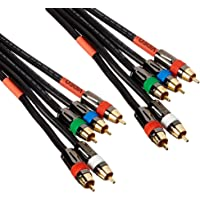 Monoprice 6ft 18AWG CL2 Premium 5-RCA Component Video/Audio Coaxial Cable (RG-6/U) - Black