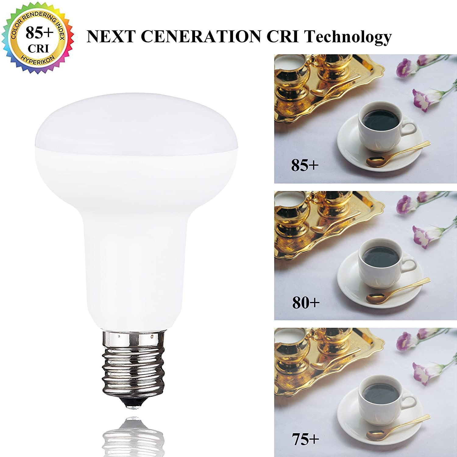 R16//BR16//R14 Mini Reflector Light Bulb 5W Equivalent 50 Watt Halogen Bulbs Internediate E17 Base LED Flood Light Bulb Dimmable 5000K Daylight White 500Lumens 120Volt 10 Pack