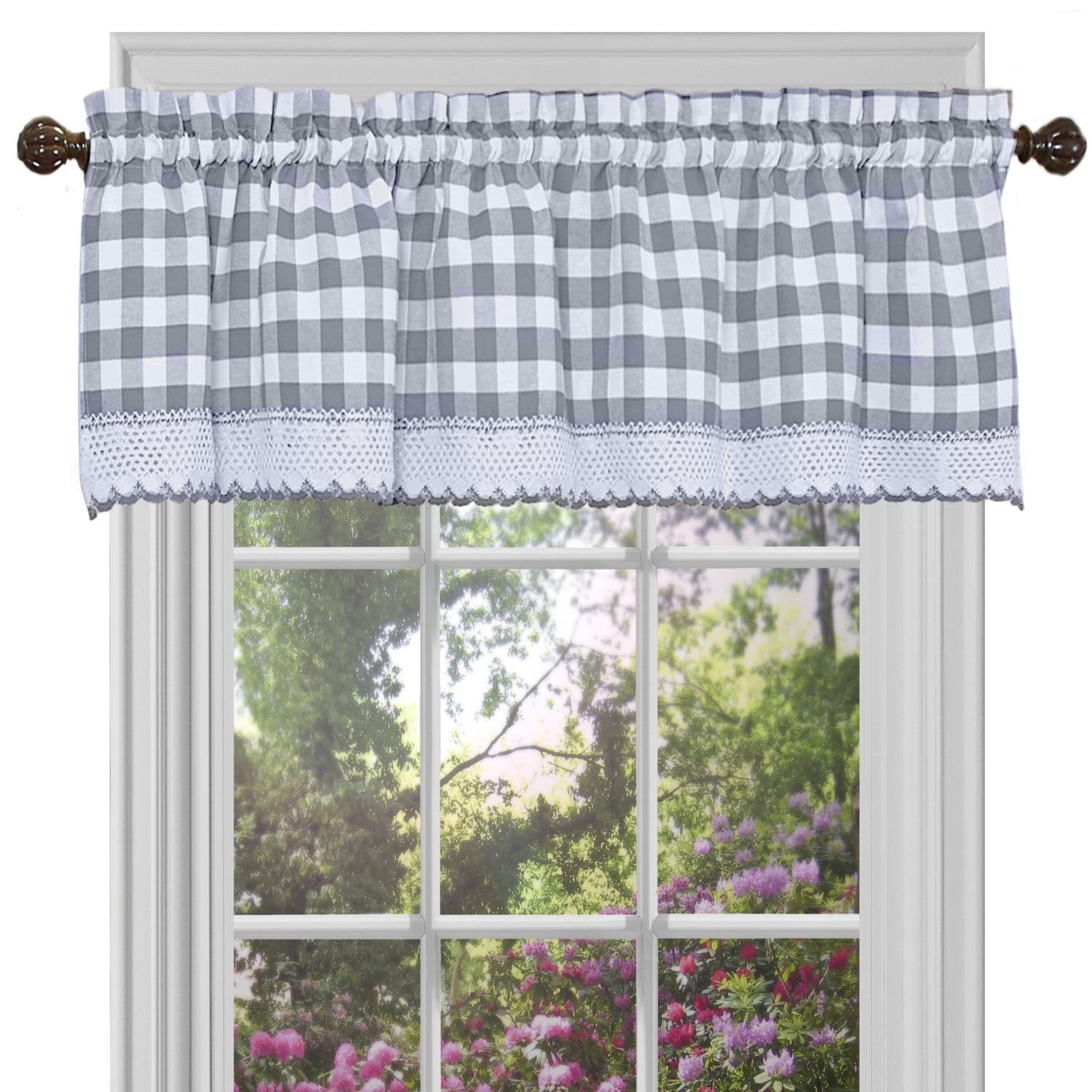 "Achim Home Furnishings Buffalo Check Window Curtain Valance, 58"" x 14"", Grey & White"