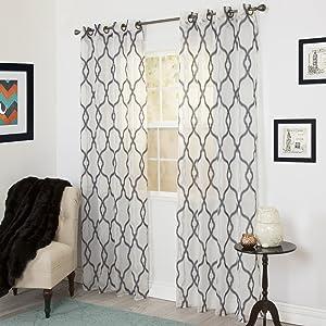 Home Lavish Elisa Emboidered Curtain Panel - 95 Inch - Charcoal