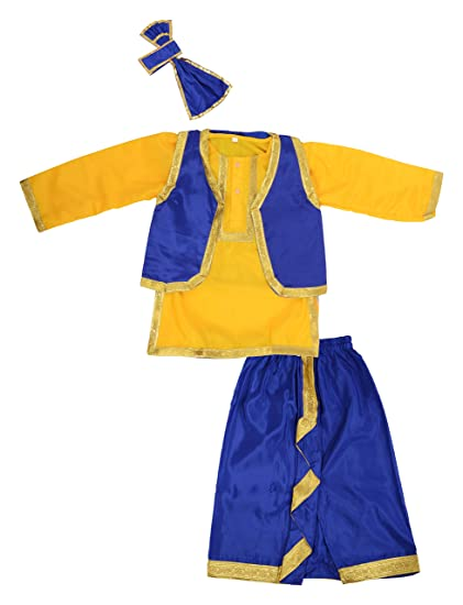 6cd477e1e Buy BookMyCostume Punjabi Bhangra Folk Dance Costume (Yellow and Blue, 2-3  Years) Online at Low Prices in India - Amazon.in