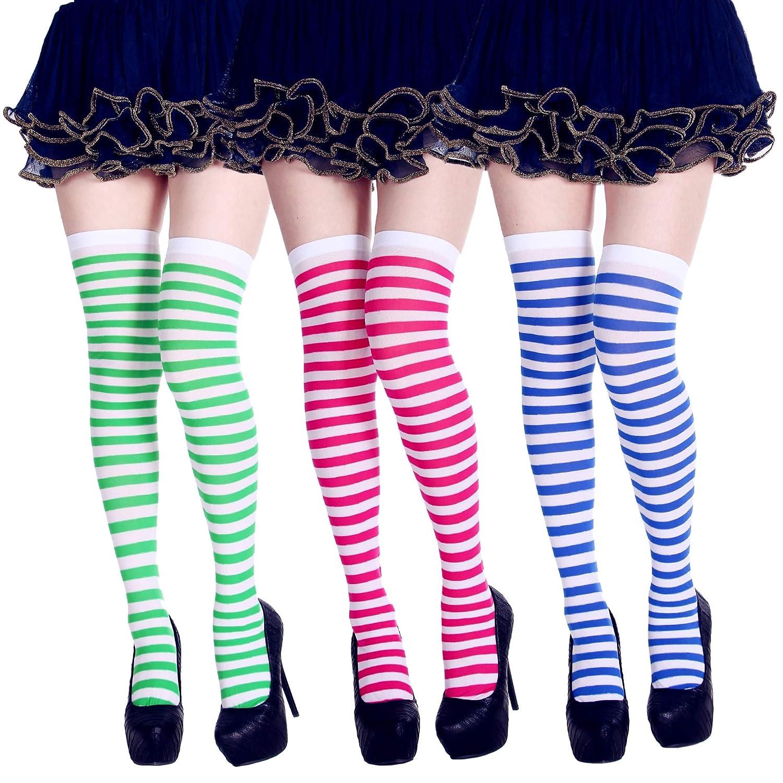 Amandir 3 Pairs Womens Knee Thigh High Socks Halloween Long Striped Socks CLO-037-1