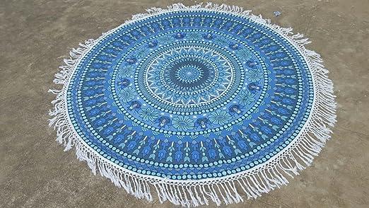 Tassel Fringe Grey Blue Multi Color Roundie Indian Mandala ...