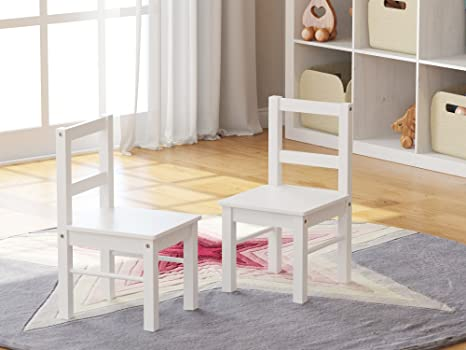 UTEX Childu0027s Wooden Chair Pair For Play Or Activity, Set Of 2, White