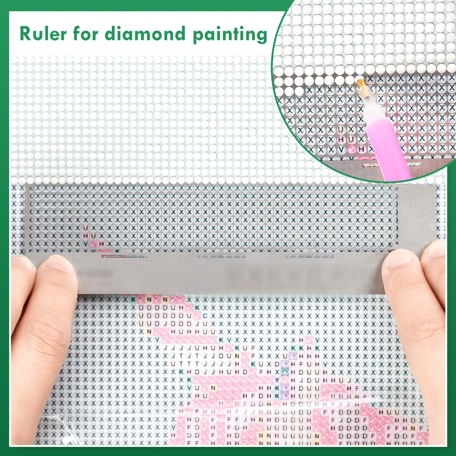 Whaline Diamond Painting Tool Stainless Steel Ruler Diamond Drawing Tool with 520 Blank Grids for Diamond Painting Round Full Drill /& Partial Drill
