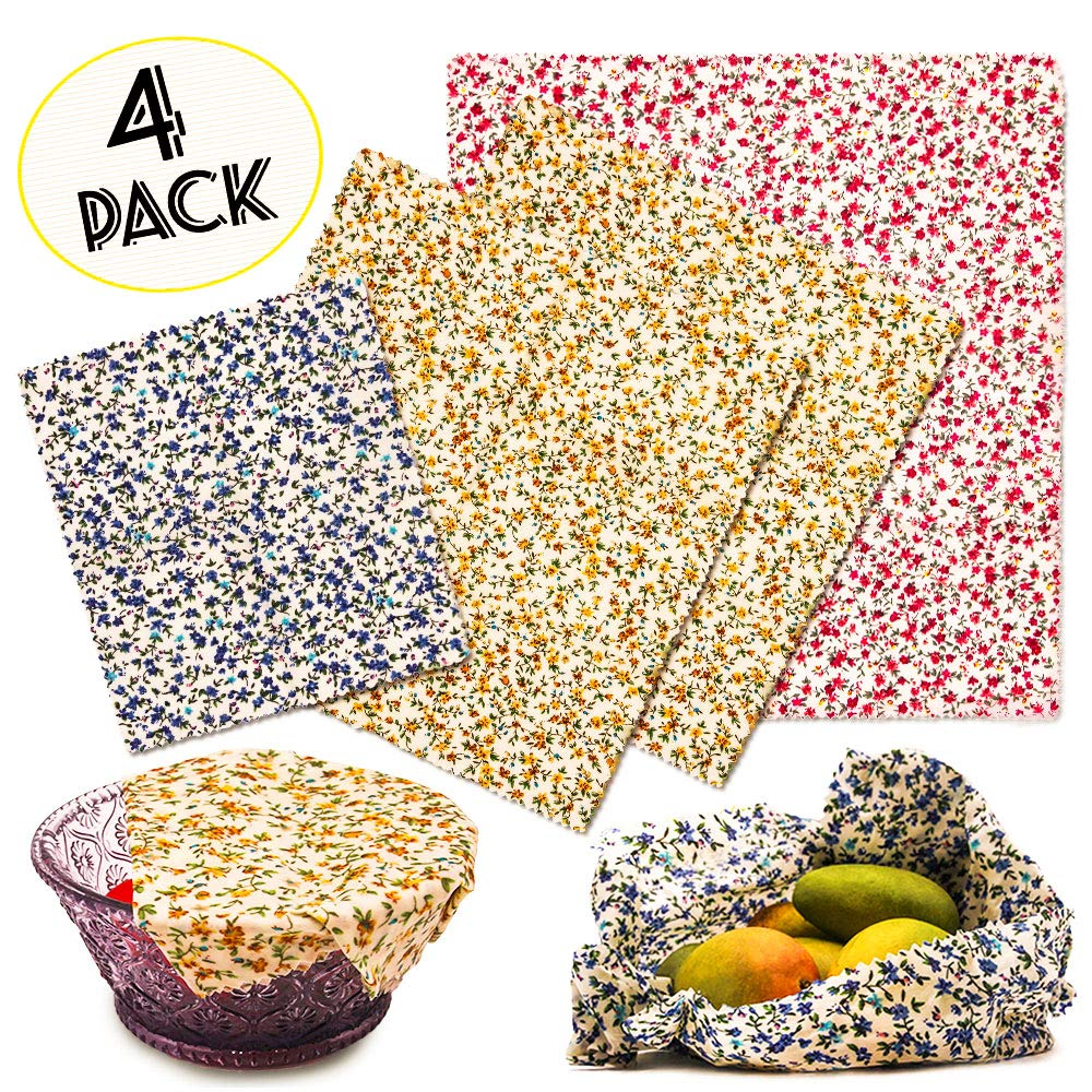 Beeswax Food Wraps, 4 Pcs BEAUTLOHAS. Breathable Antibacterial Veggie Sandwich Snack Storage Wrap, Zero Waste Natural Biodegradable Wrap Bowl Cover, Flower Print (1 Large, 2 Medium, 1 Small) by BEAUTLOHAS.