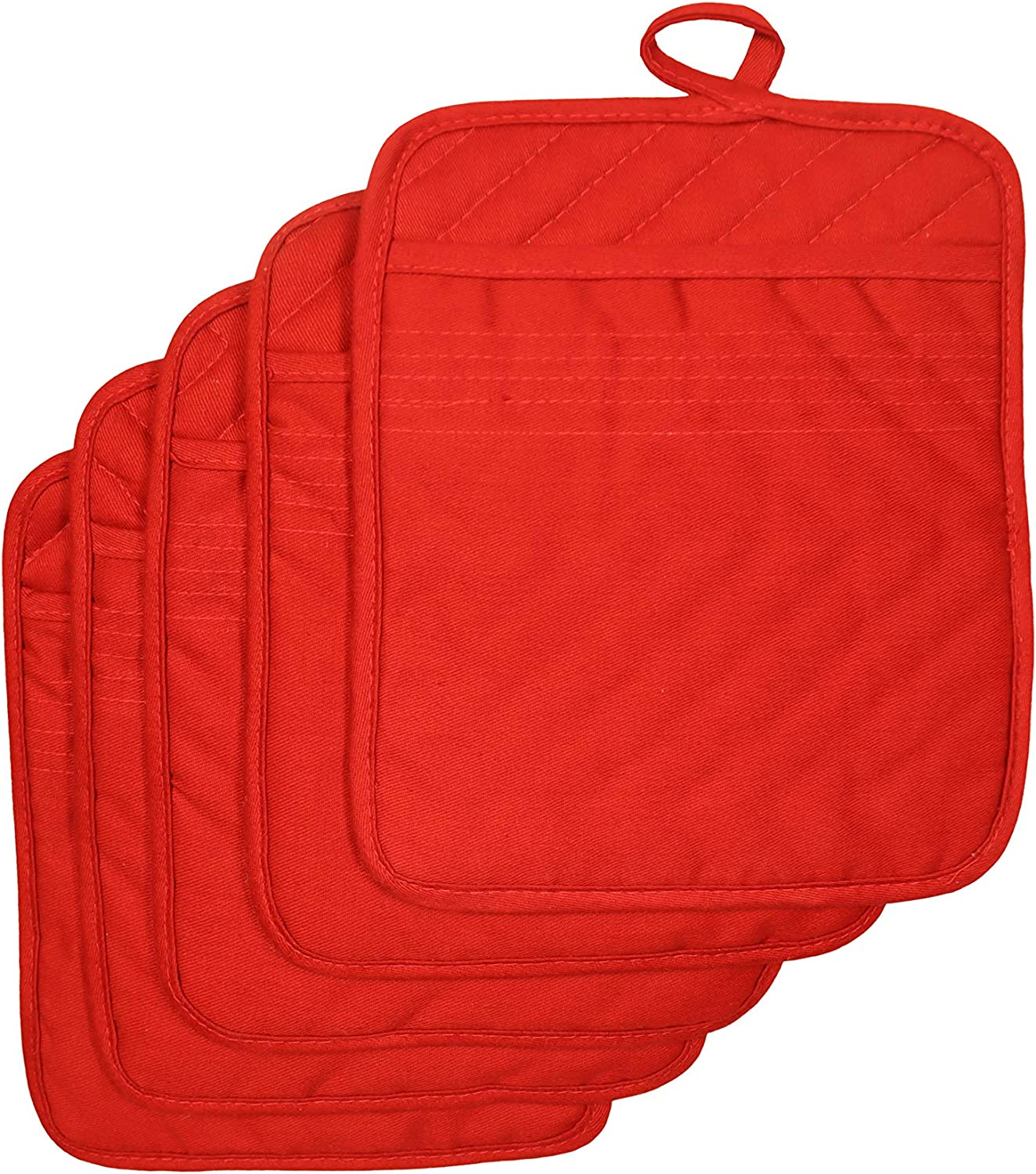 """VEIKERY Oven Pot Holder with Pocket 100% Cotton Heat Resistant Coaster Potholder Kitchen Hot Pad Oven Mitts for Cooking and Baking Square 7""""x9"""" (Red, 5)"""