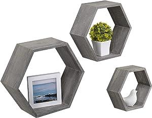 MyGift Rustic Gray Wood Hexagon Wall-Mounted Shadow Box Shelves, Set of 3