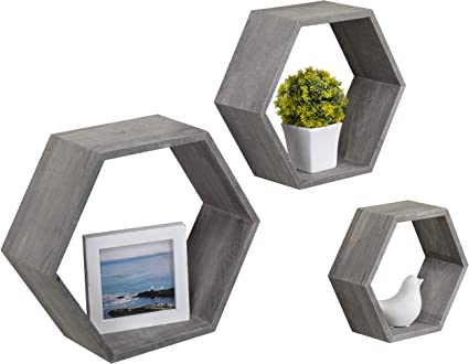 MyGift - Estantería de madera rústica de color gris hexagonal para colgar en la pared, juego de 3
