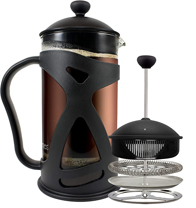 KONA French Press Coffee Maker With Reusable Stainless Steel Filter, Large Comfortable Handle & Glass Protecting Durable Black Shell best french presses