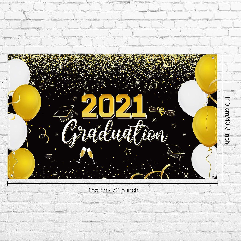 72,8 x 43,3 Pollici Banner di Segno 2021 Congrats Grad Extra Large Nero Oro Sfondo Cabina Foto per Feste Laurea Interni Esterni Casa Scuola Forniture Decorazioni Banner Festa Laurea 2021
