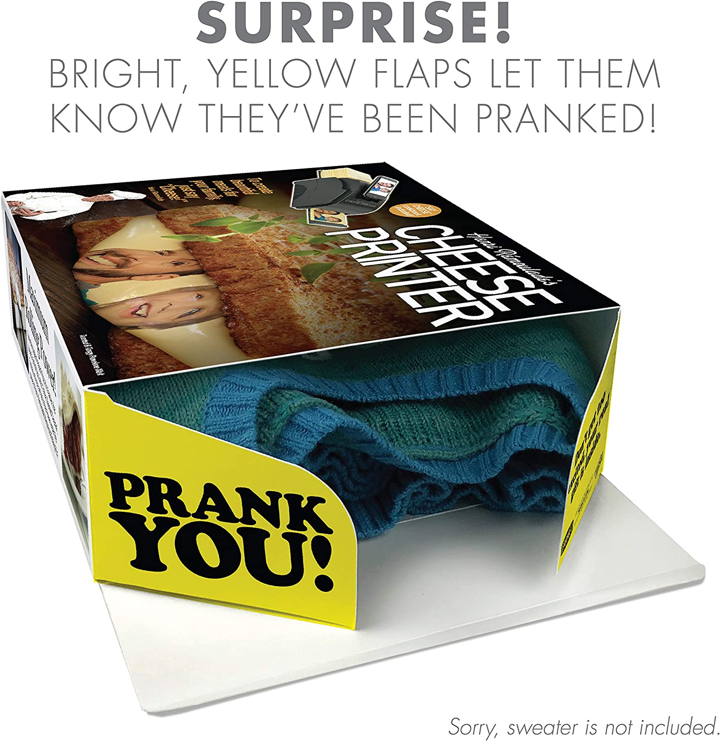 """Awesome Novelty Gift Box for Any Adult or Kid! by Prank-O Prank Pack /""""Cheese Printer /"""" The Original Prank Gift Box Wrap Your Real Gift in a Prank Funny Gag Joke Gift Box"""