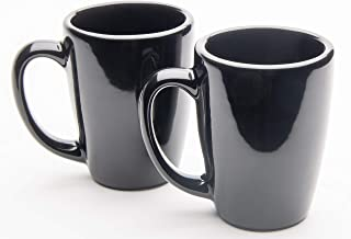 product image for American Mug Pottery Ceramic Bistro Style Coffee Mug, Made in USA (14 oz - Pack of 2, Black)