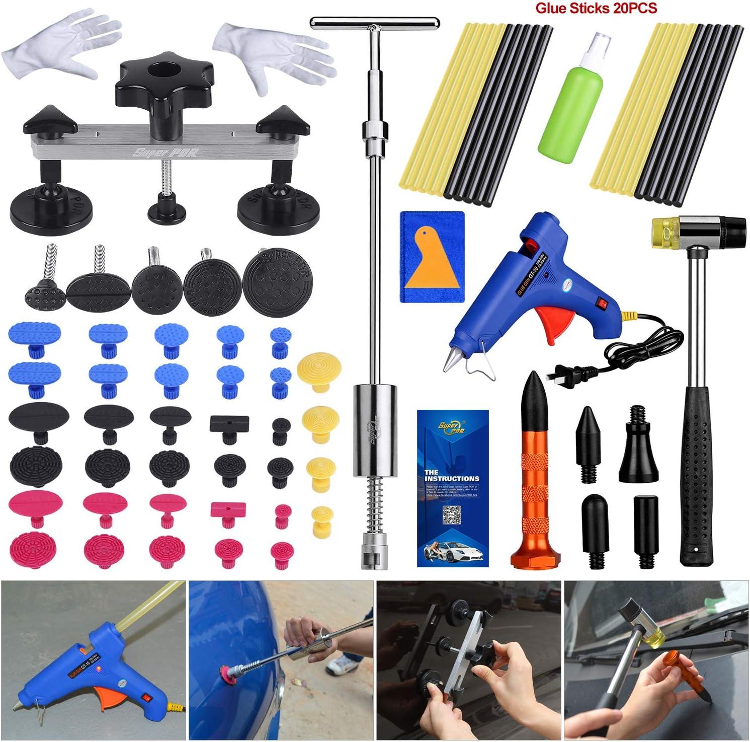 Kuinayouyi Paintless Dent Repair Hail Removal T Bar Slide Hammer+18pcs Glue Puller Tabs Nin