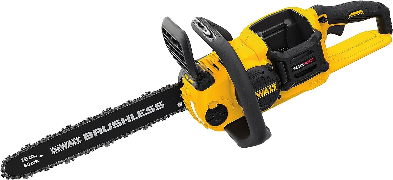 "5. Dewalt DCCS670X1 FLEXVOLT 60V Max Lithium-Ion Brushless 16"" Cordless Chainsaw Kit"