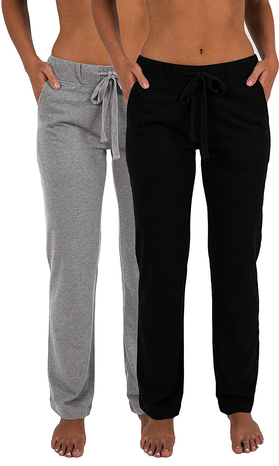 2 Pack Black & Grey Sexy Basics Women's 2 Pack Ultra Soft French Terry Cotton Drawstring Yoga Lounge Long Pants