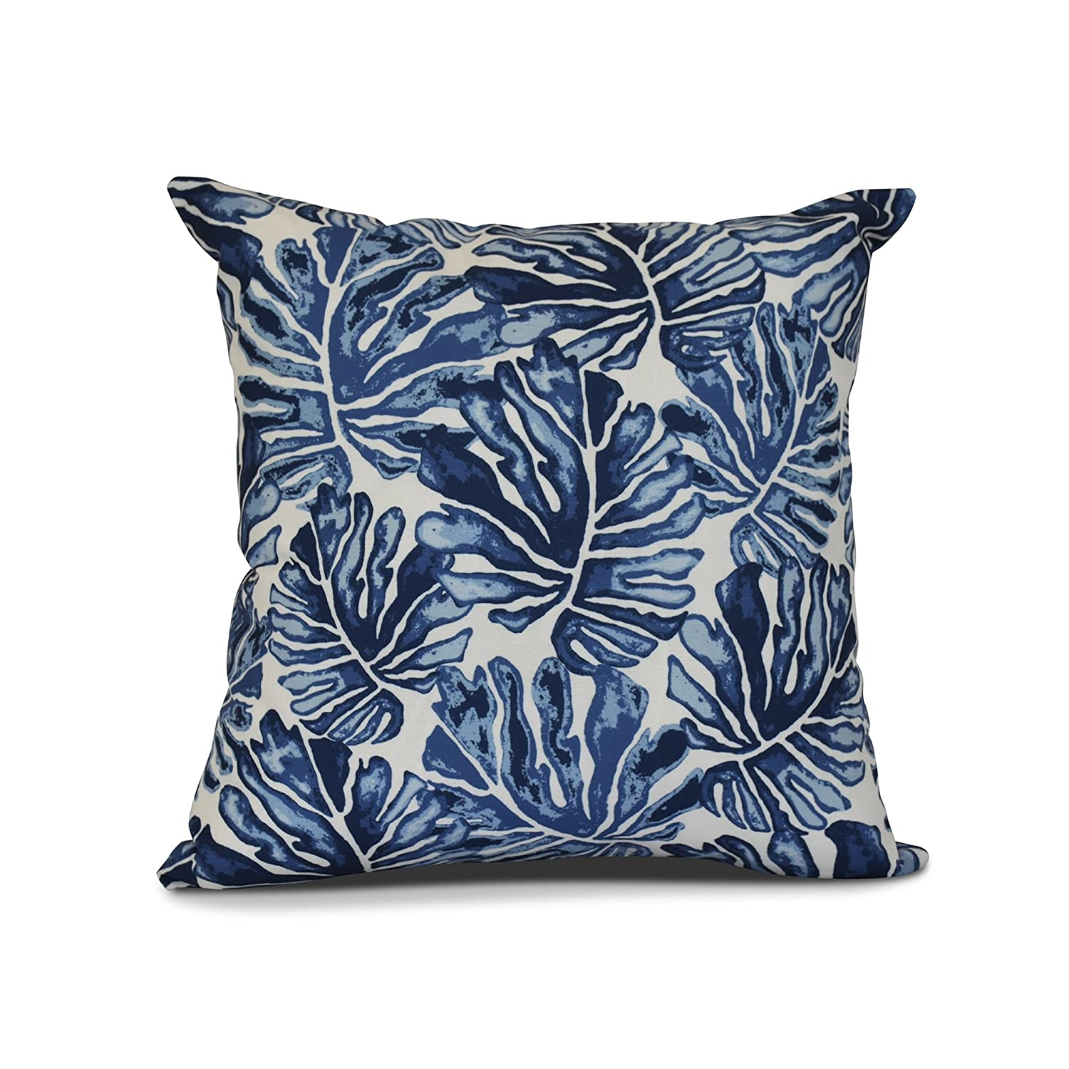 Ebydesign Palm Leaves Floral Print Outdoor Pillow 20' x 20' Purple