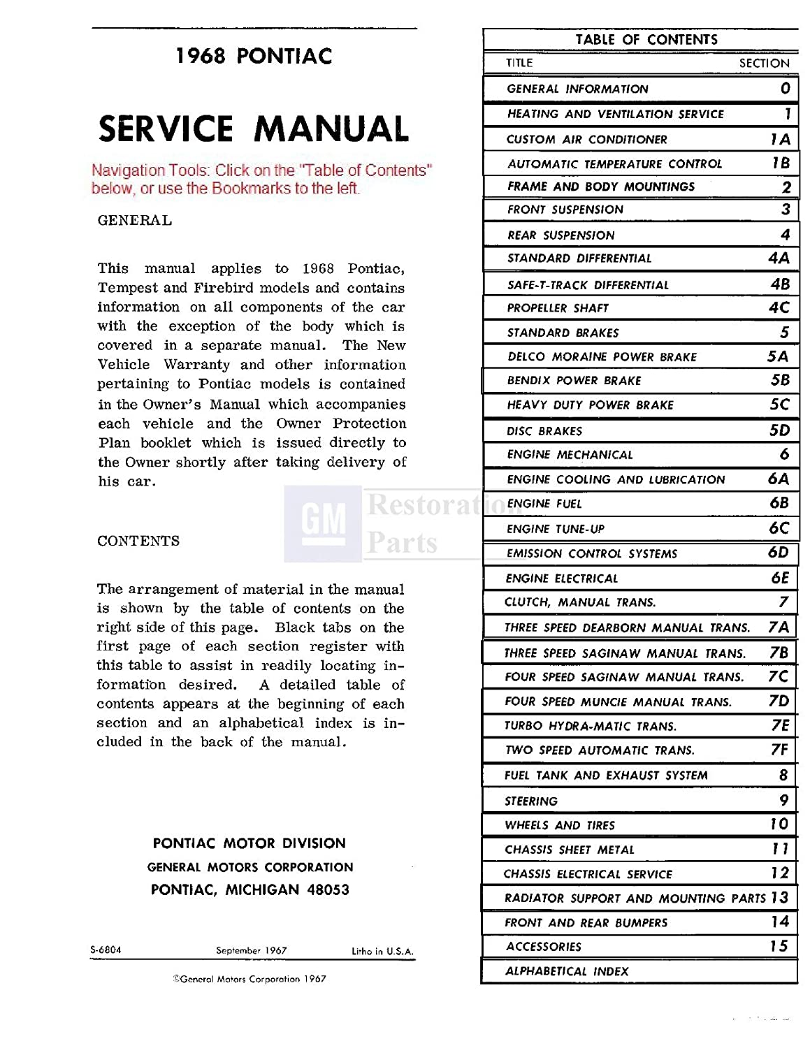 1968 Pontiac Tempest Lemans Gto Wiring Diagram Manual Reprint