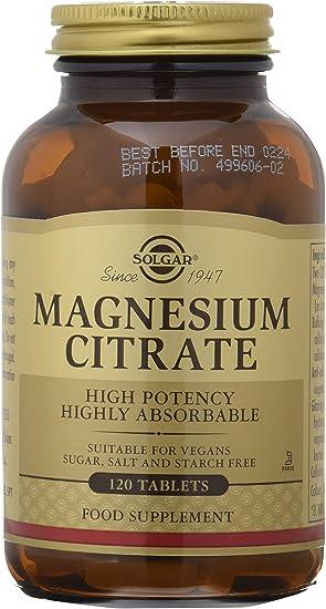 Solgar Citrato de Magnesio, Función Muscular y Reducción de la Fatiga, Apto para Veganos, 120 C...