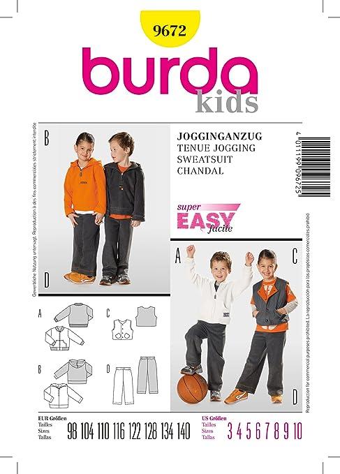 Burda KIDS Pattern 9535 Boys//Girl Jogging Suit-Jacket w//Hood Opt~Pants~Vest 4-10