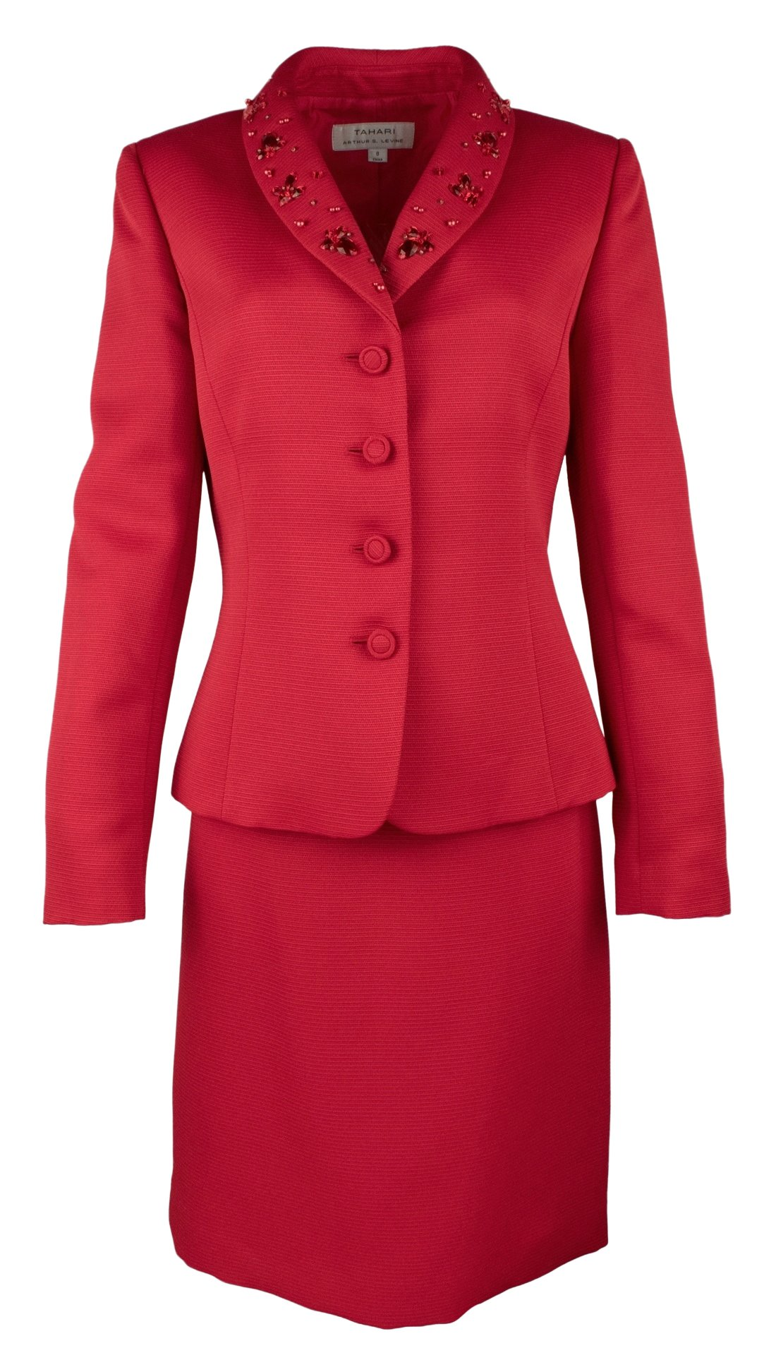 Tahari ASL Womens Cindy Textured 2PC Skirt Suit Red 16