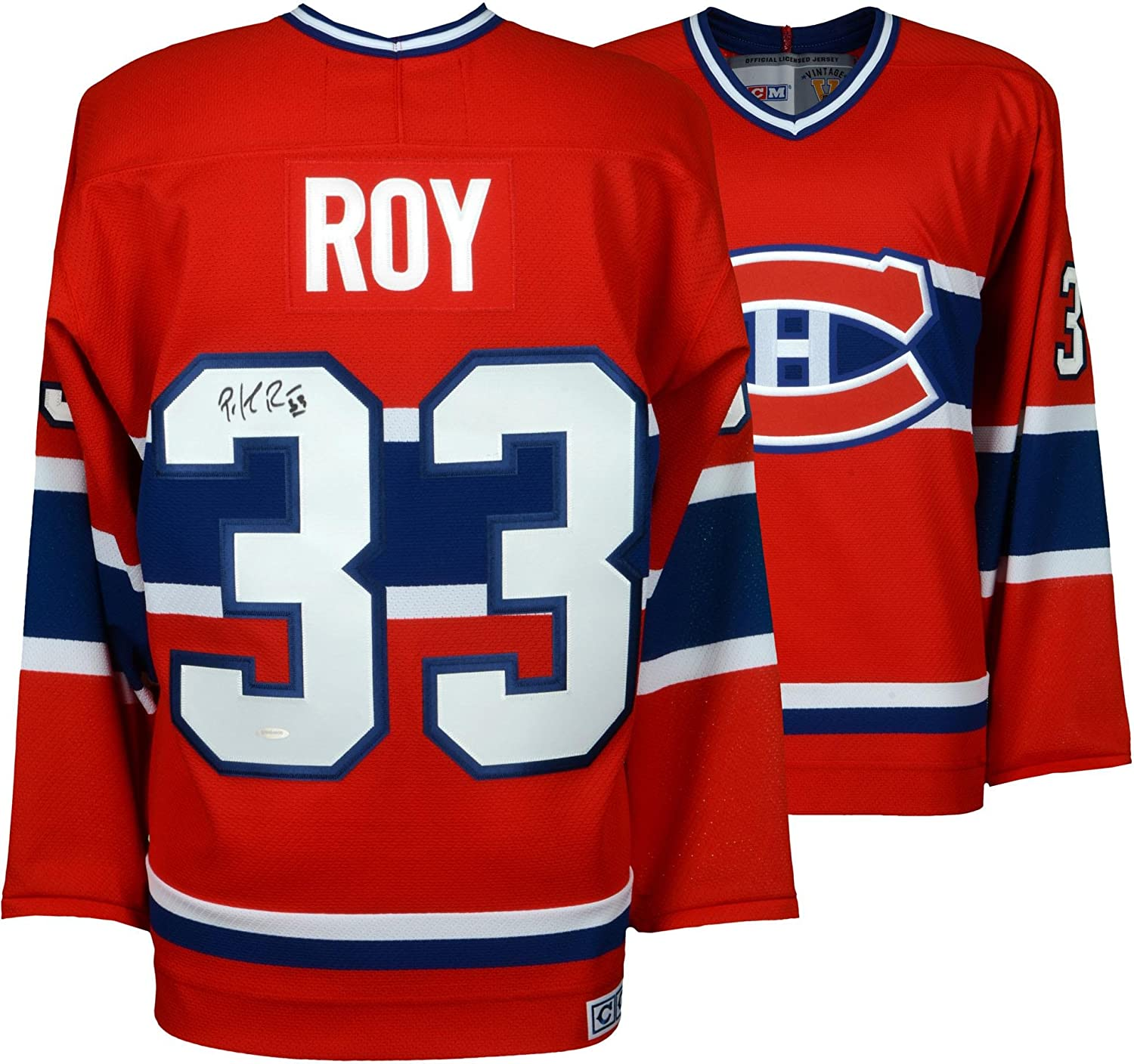c76b649cd0a ... italy patrick roy montreal canadiens autographed centennial red jersey  upper deck fanatics authentic certified at amazons