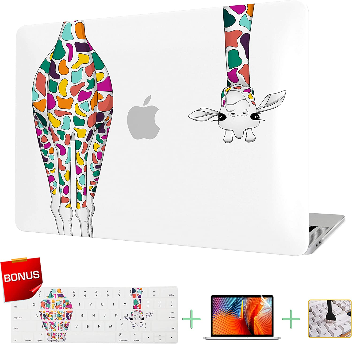 Laptop Case MacBook Case Hard Shell Cover for MacBook Pro 13 inch Model A1278 with Keyboard Cover and Screen Protector (Colorful Giraffe)