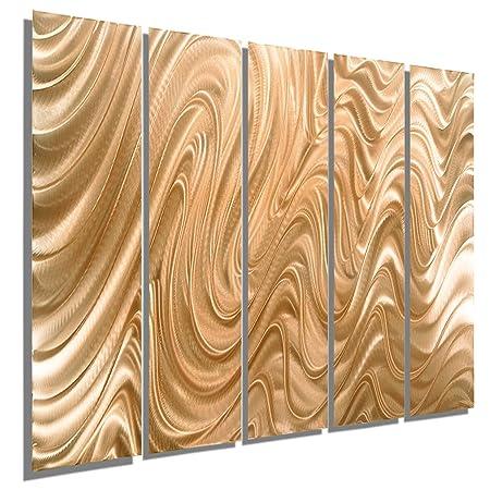 Huge abstract copper metal wall art sculpture multi panel modern