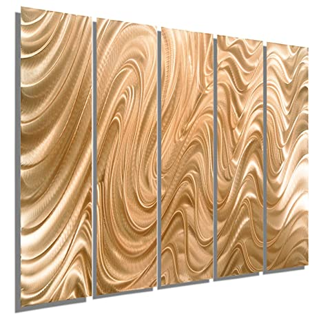 Amazon.com: Huge Abstract Copper Metal Wall Art Sculpture - Multi ...