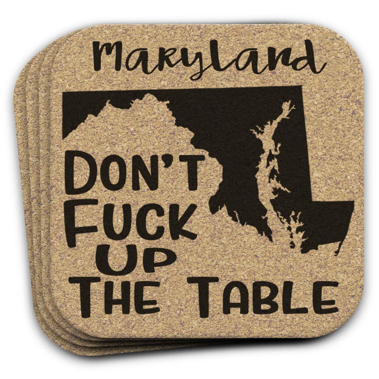 Maryland State Gift Souvenir 4pc Cork Coaster Set