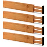 Bamboo Adjustable Drawer Dividers Organizers - Large Expandable Utensil Organizer Separators for Kitchen, Dresser…