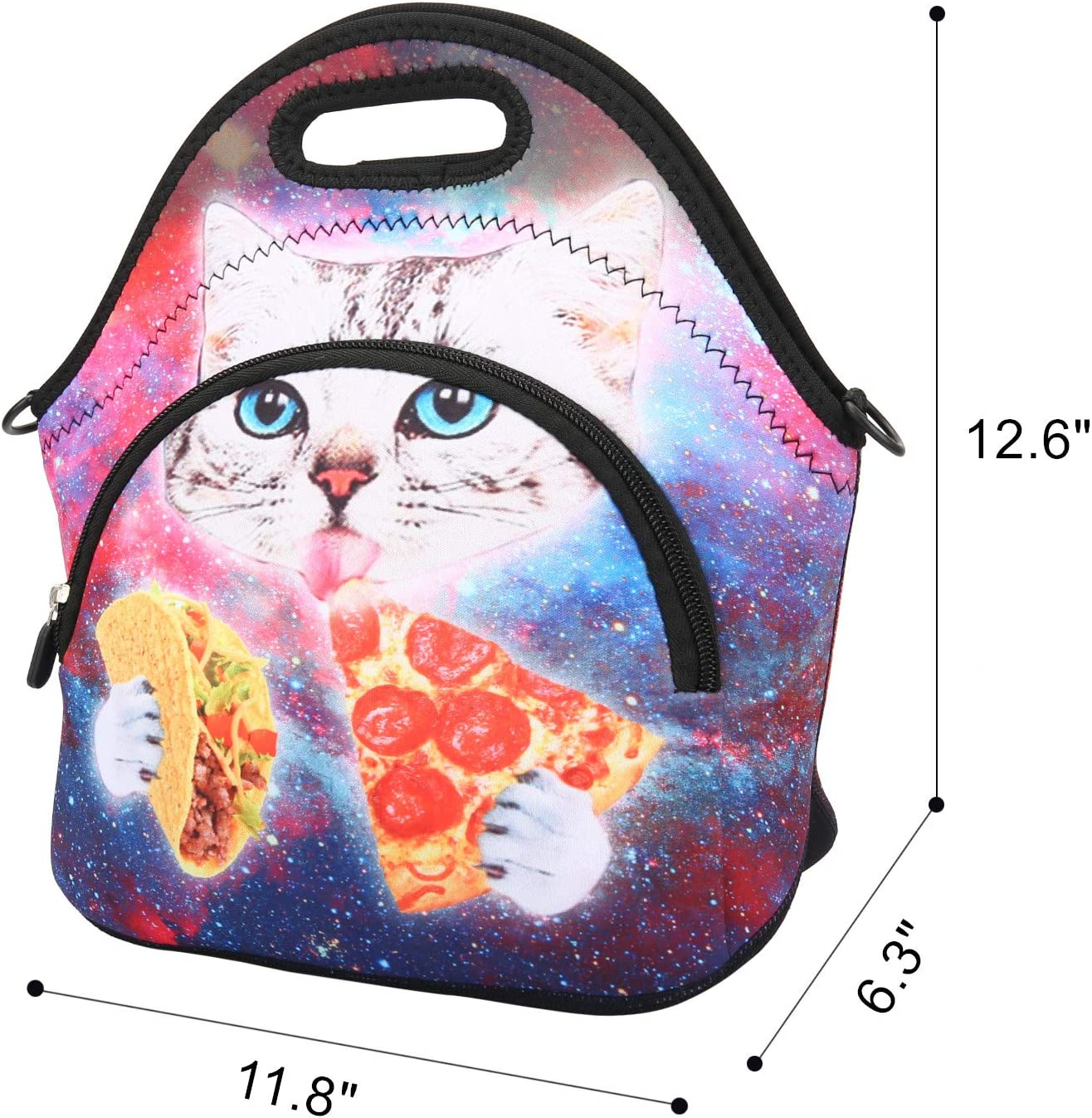 Violet Mist Neoprene Lunch Bag Tote with Pocket Shoulder Strap Insulated Thermal Lunch Box Tote Waterproof Pinic Work for Women Gilrs Men Adults Teens(Blue Car)