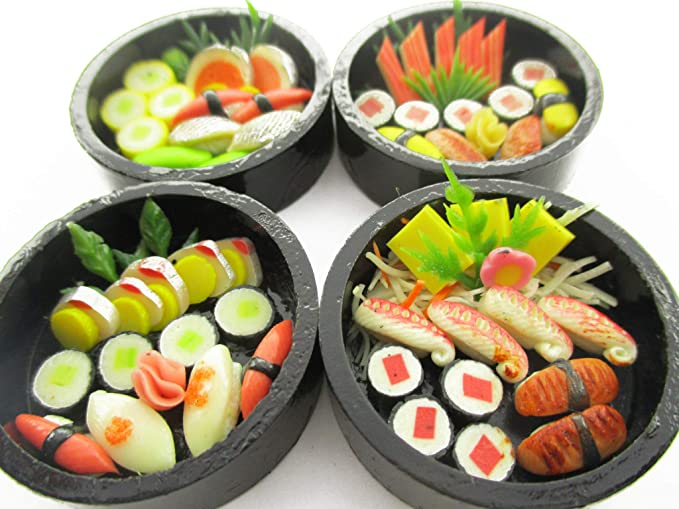 9 2 Sushi Bento Japanese Food Dollhouse Miniatures Food Supply Boat Deco